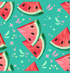 seamless pattern with slice of watermelon vector image