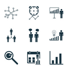 Set of 9 administration icons includes group vector