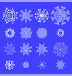 set of snow flakes vector image
