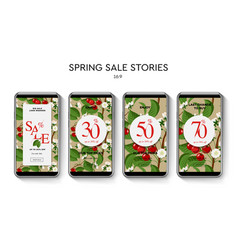 set of spring sale web banners for social media vector image