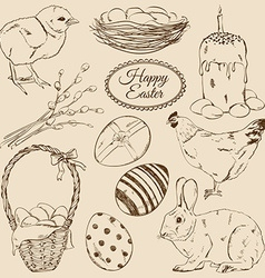set sketch easter icons vector image