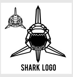 shark logo - animal heads icons geometric vector image