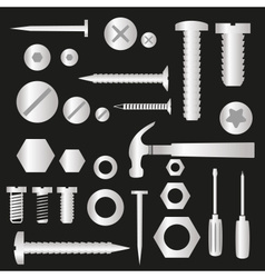 Silver hardware screws and nails with tools vector