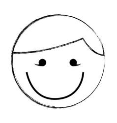sketch draw round man face cartoon vector image