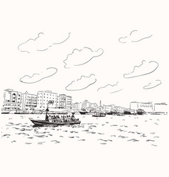 sketch dubai greek with traditional boat abra vector image