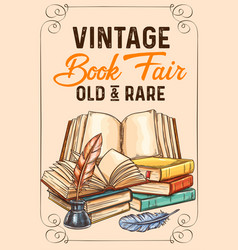 Sketch poster of old rare vintage books vector