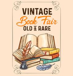 Sketch poster old rare vintage books vector