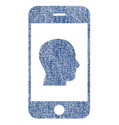 Smartphone contact human portrait fabric textured vector