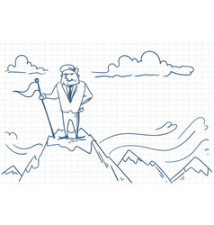 successful business man putting flag on mountain vector image