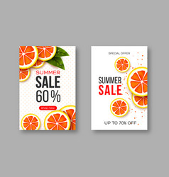 summer sale banners with sliced grapefruit pieces vector image