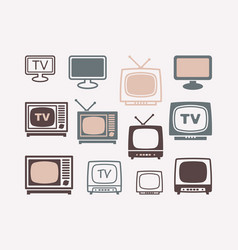 tv icons in retro style set vector image