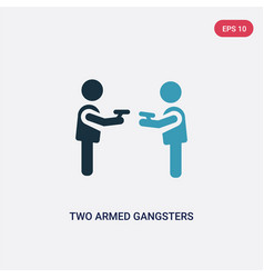 Two color two armed gangsters pointing each other vector