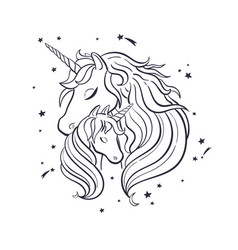 Unicorn family love magic dream 4 vector