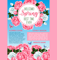 Welcome spring floral greeting banner template vector