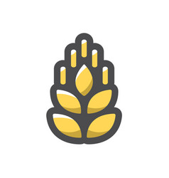 wheat gold ear icon cartoon vector image
