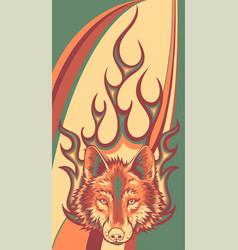 Wolf flaming fire logo mascot vector