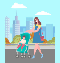 Woman walking with baby in pram on city street vector