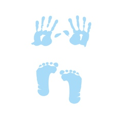 Baby boy handprint footprint vector