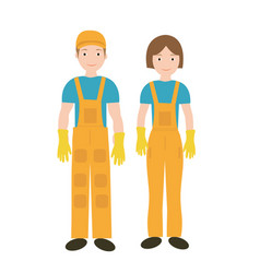 cleaners in uniform woman and man icon flat style vector image vector image