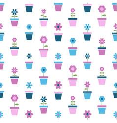 flowers in pots seamless pattern vector image vector image