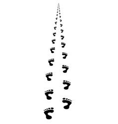 Foot steps walking away in perspective vector