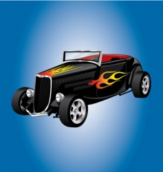hot rod car with flames vector image