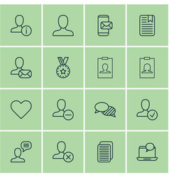 set of 16 social icons includes mail notification vector image vector image