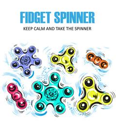 set of hand spinning machine rotation vector image