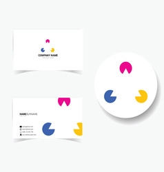 Business card with triangle and three color vector