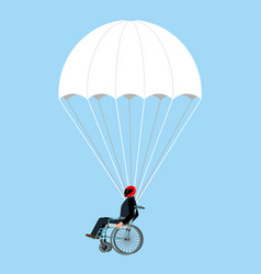 disabled skydiver isolated wheelchair on vector image vector image