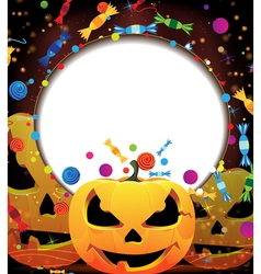Smiling jack o lanterns Halloween background vector image