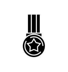 star medal icon black sign vector image vector image