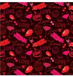 Vintage Love Food Pattern vector image vector image