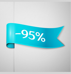 cyan ribbon with text ninety five percent discount vector image