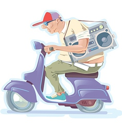 Fat Man on the Scooter vector image vector image