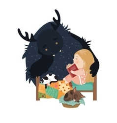 Little girl reading fairy tales to the monster vector image vector image