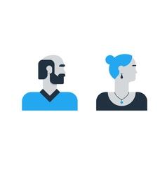 Man woman side view halfe face head old elderly vector image vector image