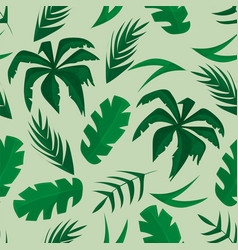 seamless pattern with tropical leaves on green vector image
