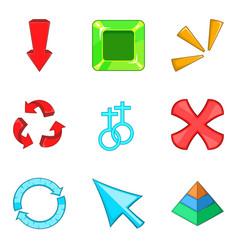 arrowhead icons set cartoon style vector image vector image