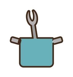 blue pot grill fork utensil kitchenware vector image vector image