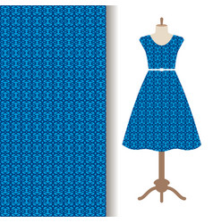 dress fabric with blue arabic pattern vector image