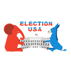 elephant and donkey divide white house vector image