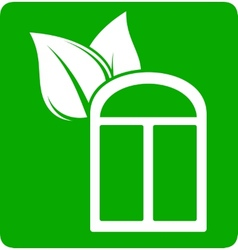 icon with window and leaf vector image vector image
