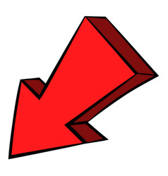 red left down arrow icon icon cartoon vector image vector image