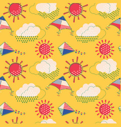 Sun with clouds and flying kites seamless pattern vector