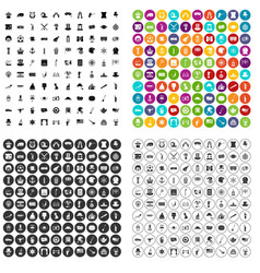 100 top hat icons set variant vector