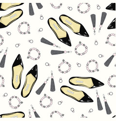 a pattern of women shoes and accessories on a pink vector image