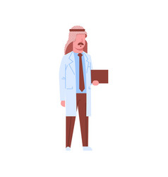 Arab male doctor holding checklist arabic man vector