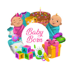 baby care cartoon poster with children toys frame vector image
