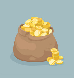 Bag with coins flat style vector